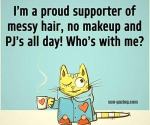cat, messy hair, and pajamas image