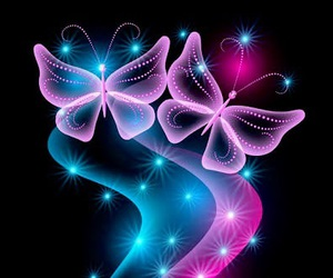 butterfly, blue, and pink image
