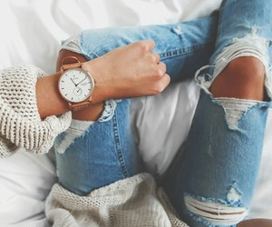 fashion, jeans, and watch image