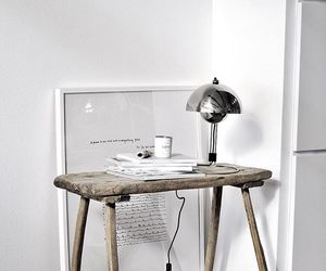 desk, white, and wood image