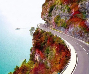 autumn, road, and landscape image
