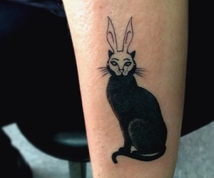 cat, cat tattoo, and inked image