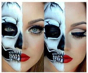 makeup, skull, and Halloween image