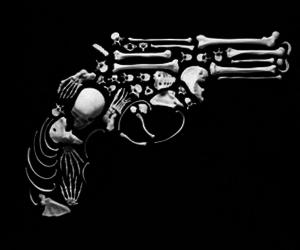 gun, bones, and skull image