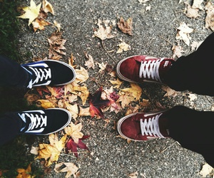 autumn, couple, and leaves image