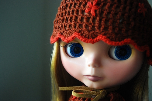 blue eyes, blythe, and crochet image
