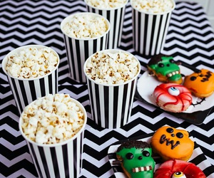 food, Halloween, and popcorn image