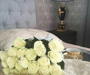 bed, roses, and tea image