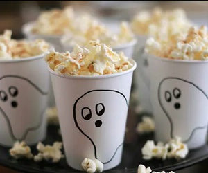 food, ghost, and popcorn image