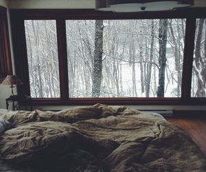 bed, bedroom, and window image