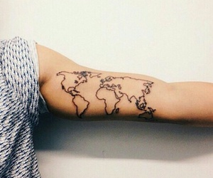 tattoo, world, and arm image
