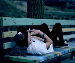 alone, boy, and smoke image