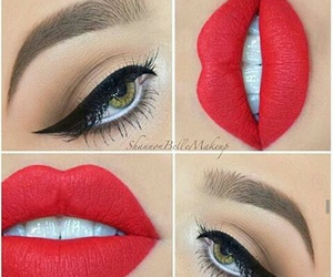 makeup, lips, and red lips image