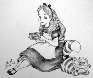 alice, cheshire, and tea image