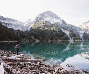 adventure, lake, and landscape image