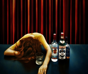 alcohol, curtain, and drink image