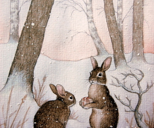 winter, rabbit, and bunny image