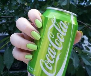 green, coca cola, and nails image