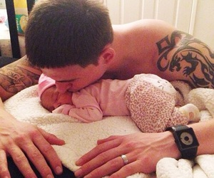 baby, dad, and kiss image