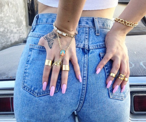 nails, jeans, and rings image
