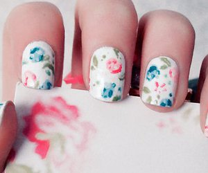 nails, flowers, and floral image