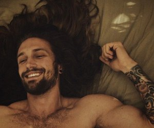 long hair, man, and smile image