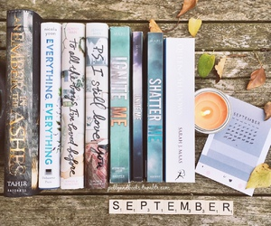 books, candle, and September image