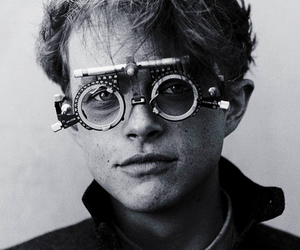 black and white, boy, and glasses image