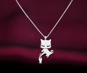 cat, kitten, and necklace image