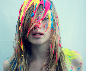 girl, hair, and paint image