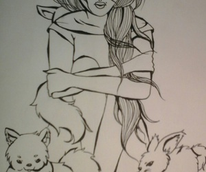 beauty, dog, and drawing image
