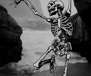 skeleton, skull, and beach image