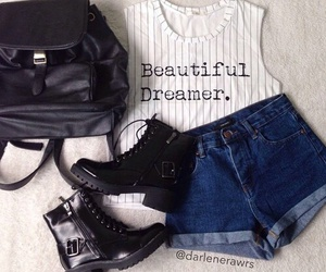 outfit, boots, and shorts image