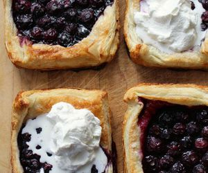 food, blueberry, and cream image