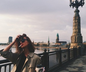 girl, travel, and coffee image