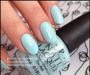 blue, nails, and opi image