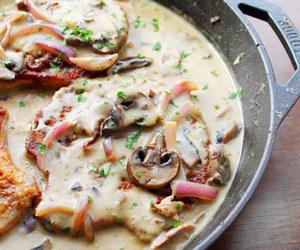 food, mushroom, and pork image