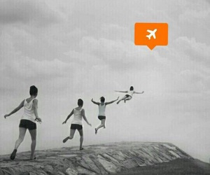 black and white, jumping, and plane image