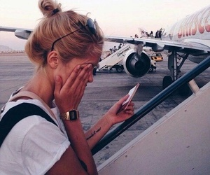 girl, planes, and tired image