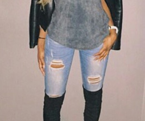 black leather jacket, grey t-shirt, and black knee high boots image