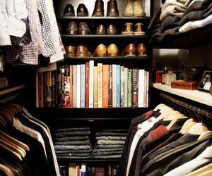 closet, clothes, and books image