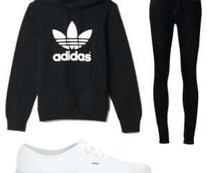 adidas, black, and hoodie image
