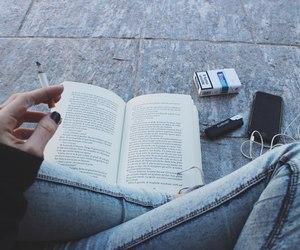book, smoke, and cigarette image