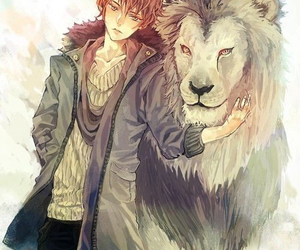 anime, lion, and boy image