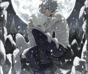 anime, wolf, and boy image
