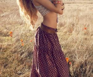 girl, hippie, and skirt image