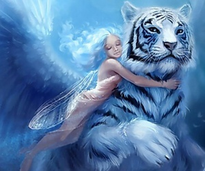 fantasy, tiger, and fairy image