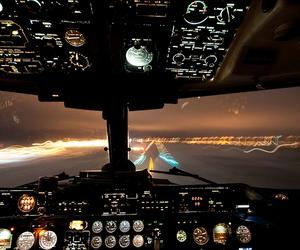 airplane, plane, and light image