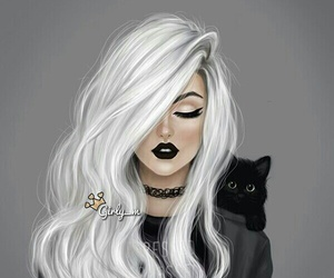 art, cat, and pretty image