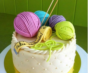 birthday cake, delicious, and knitting image
